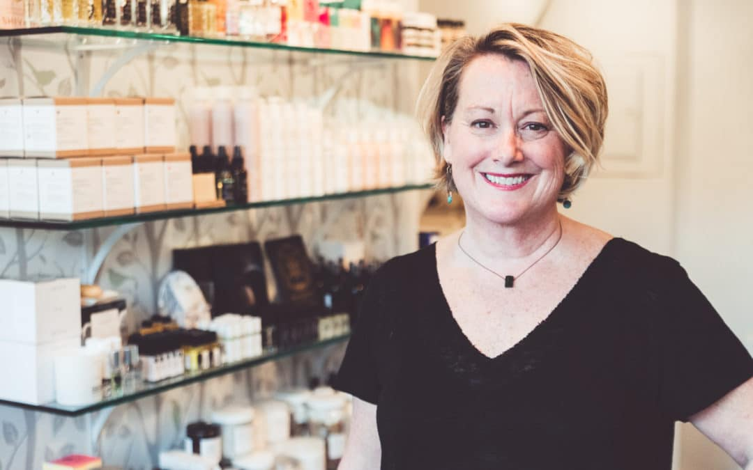 Mandy Butera at her clean beauty boutique, Wren & Wild in downtown Bend, Oregon.